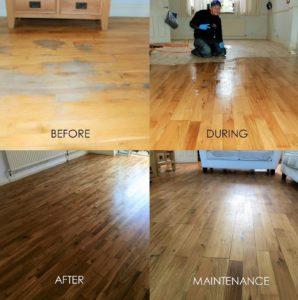 oak wood floor sanding project